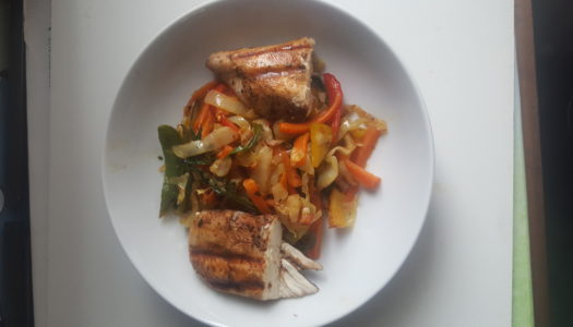 Grilled Jerk Chicken Breast w/ stir fry cabbage