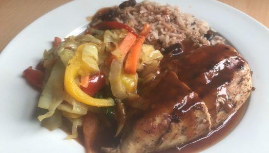 Grilled Jerk Chicken w/ Brown Rice & Peas w/ Stir Fry Cabbage (100% Flava& Healthy)