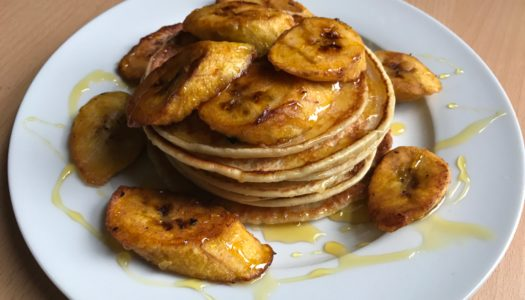 Pancakes with plantain & syrup glaze