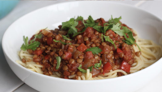 Jerk spiced lentil Bolognese