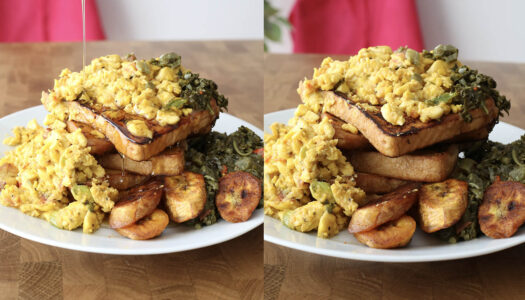 Hardough bread french toast w/ scrambled ackee, plantain & callaloo