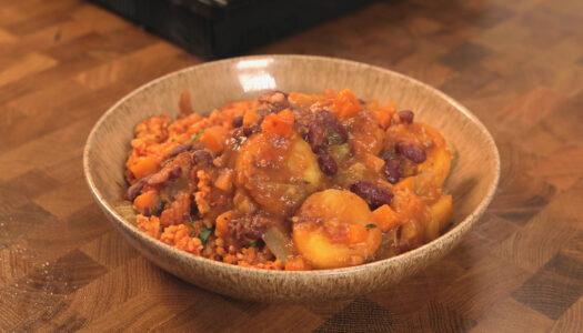 Plantain and bean stew
